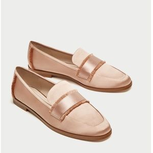 Pink Satin frayed loafers/ flats  NWT size:41 / 10